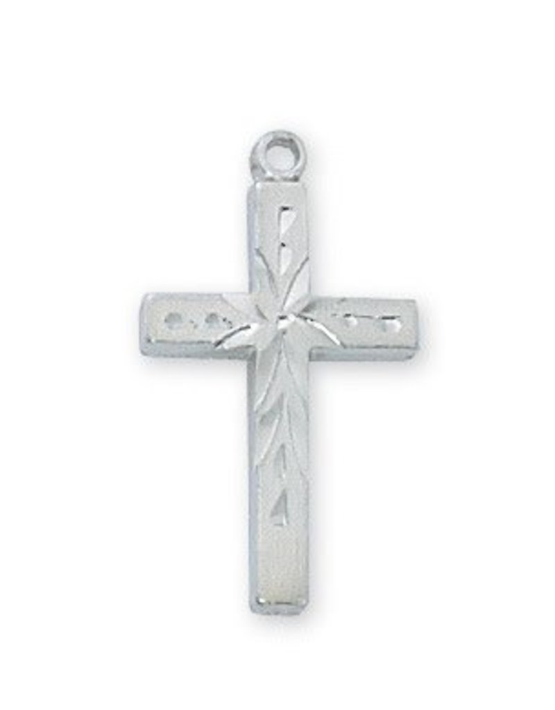 "McVan Engraved Rhodium Cross with 18"" Chain"