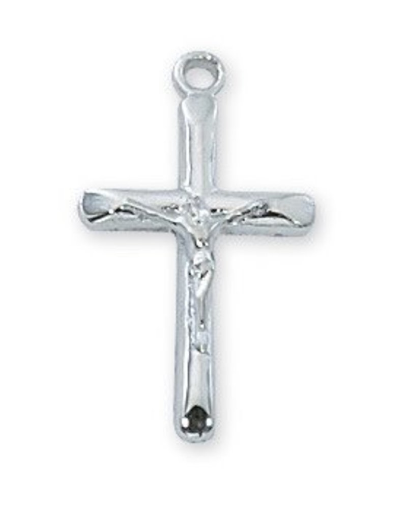 """McVan Rhodium Plated Crucifix Pendant with 18"""" Chain Necklace"""