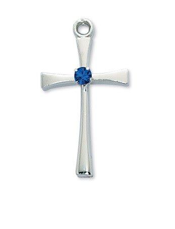 McVan Rhodium Cross with Birthstone (September)