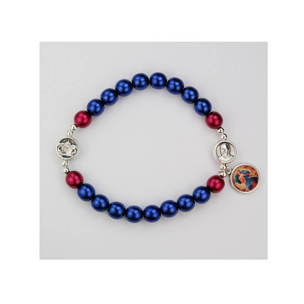 McVan Our Lady Undoer of Knots Stretch Bracelet With Pope Francis and Vatican Medals