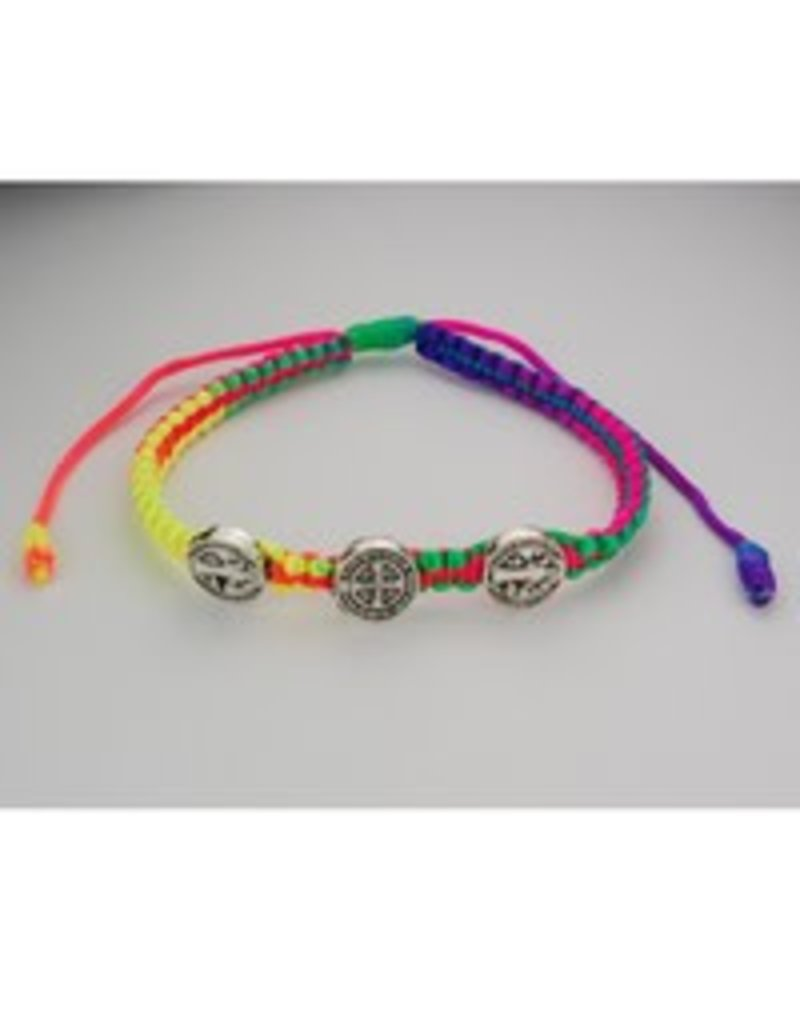 McVan Adjustable Neon Multi-Color St. Benedict Medal Cord Bracelet