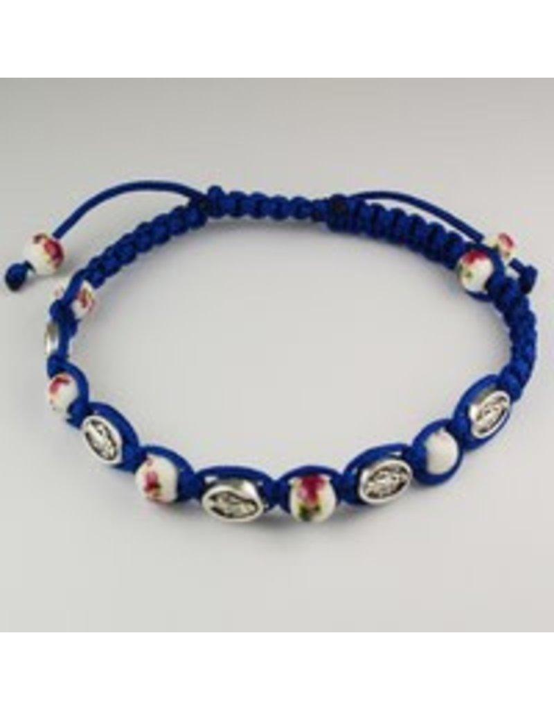McVan Adjustable Blue Miraculous Medal and Ceramic Bead Cord Bracelet