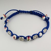 McVan Adjustable Blue Miraculous Medal and Ceramic Bead Cord Bracelet