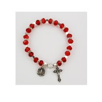 McVan Ruby Rosary Bracelet With Miraculous Medal and Crucifix