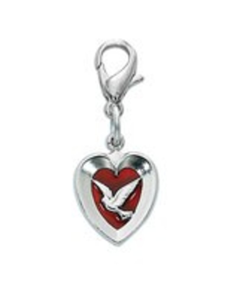 McVan Red Enamel Dove/Heart Clippable Charm