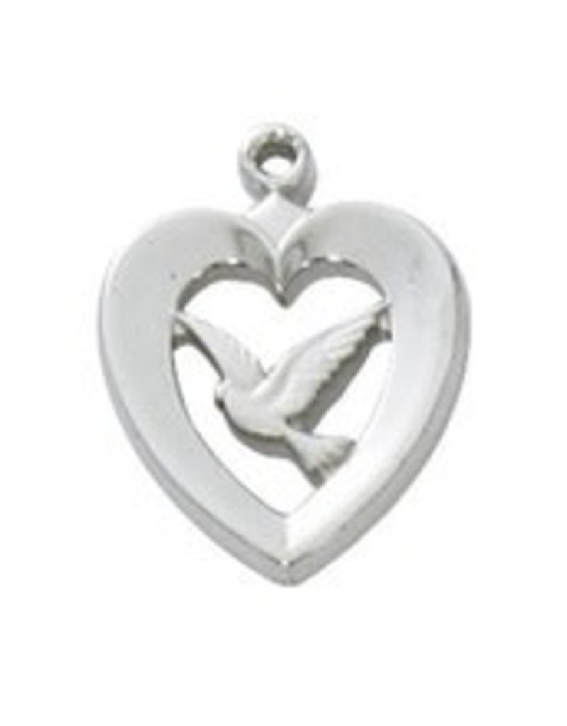 """McVan Heart With Dove Pendant on 18"""" Chain Necklace"""