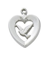 "McVan Heart With Dove Pendant on 18"" Chain Necklace"