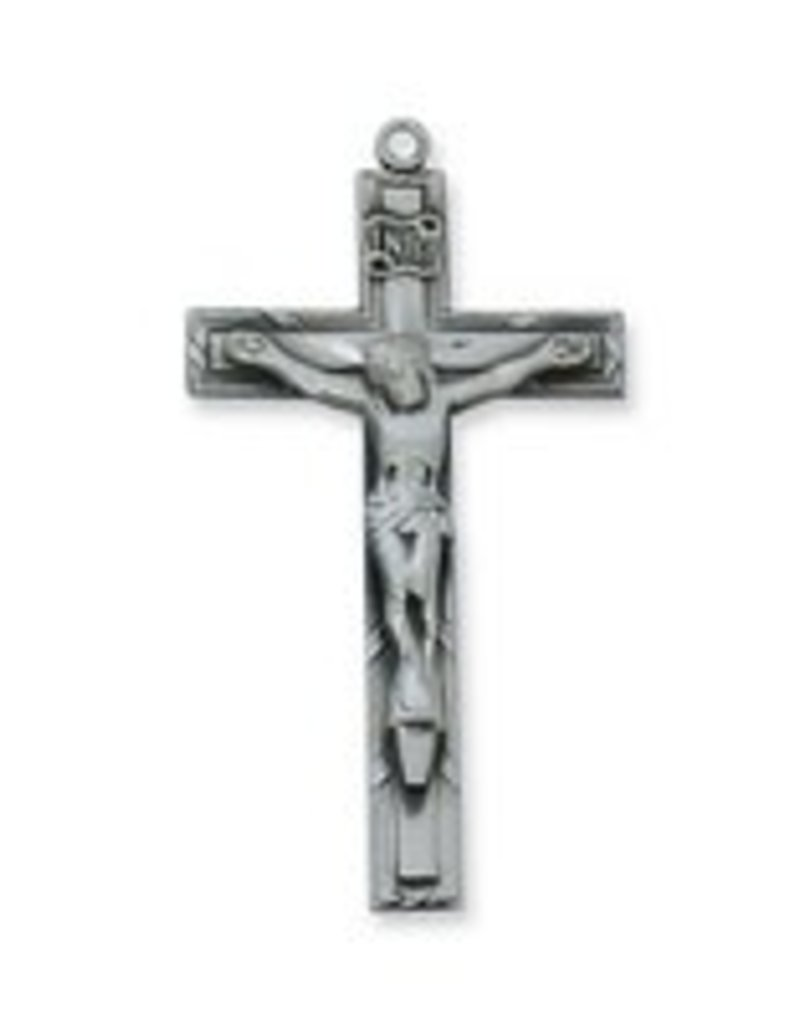 "McVan Antique Silver Crucifix with 24"" Chain"
