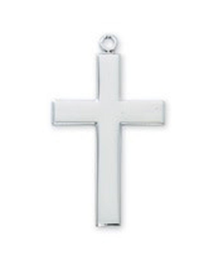 "McVan Rhodium Cross Pendant With 24"" Chain Necklace"