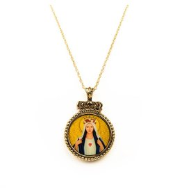 My Saint My Hero Immaculate Heart Pendant Necklace Gold