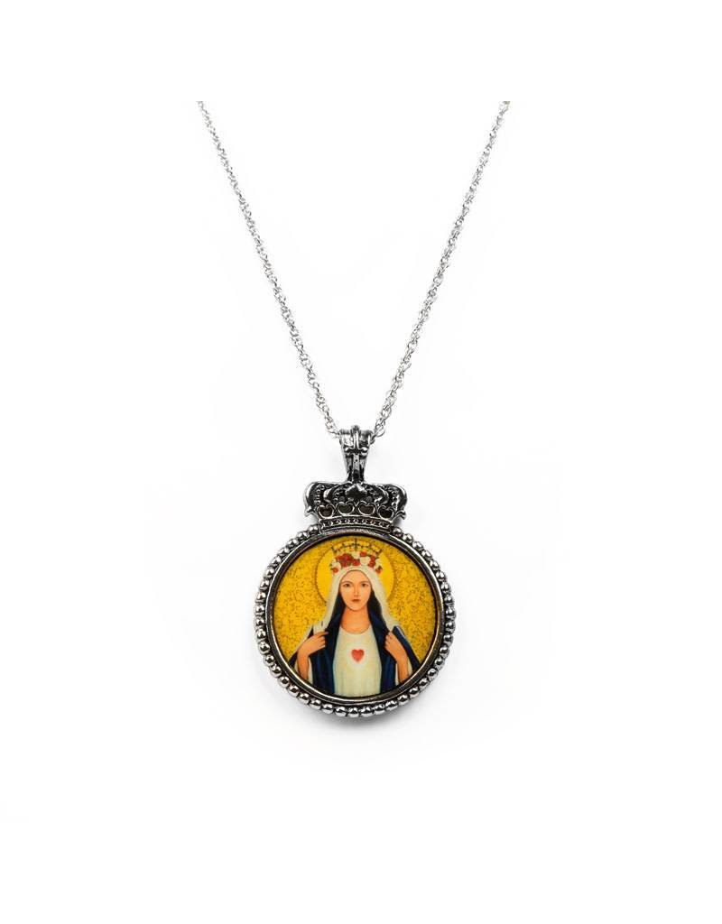My Saint My Hero Immaculate Heart Pendant Necklace Silver