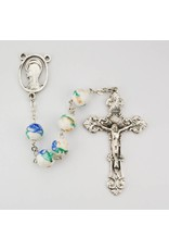 McVan 8mm White and Blue Ceramic Flower Rosary with Elaborate Crucifix