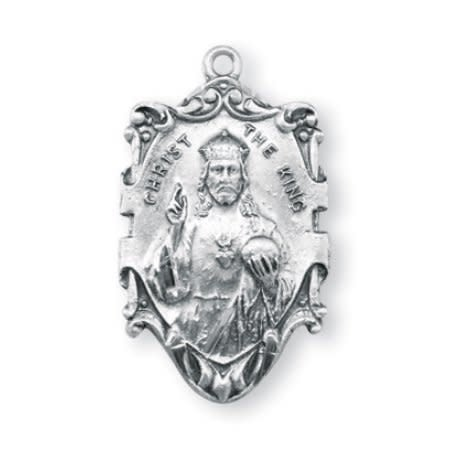 "HMH Religious 1 1/16"" Sterling Silver Christ the King Medal with 24"" Chain"