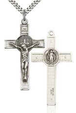 """Bliss Manufacturing Sterling Silver St. Benedict Crucifix Engraved on 24"""" Chain"""
