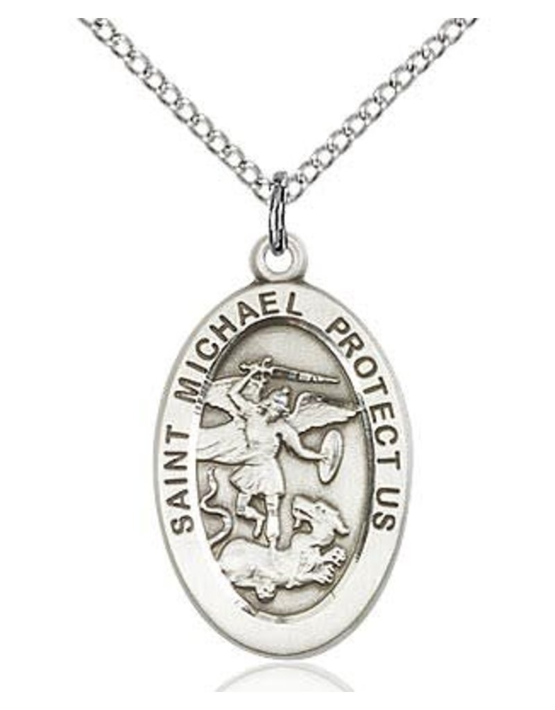 """Bliss Manufacturing Sterling Silver St. Michael the Archangel Medal Police Officers/EMT 18"""" Chain Necklace"""