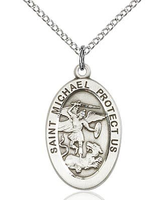 "Bliss Manufacturing Sterling Silver St. Michael the Archangel Medal Police Officers/EMT 18"" Chain Necklace"