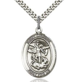 """Bliss Manufacturing Sterling Silver St. Michael Oval Medal With 24"""" Chain NecklaceNecklace Police Officer & EMT Pendant"""