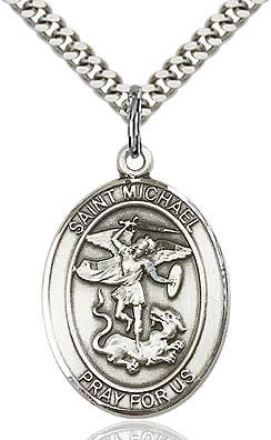 "Bliss Manufacturing Sterling Silver St. Michael Oval Medal With 24"" Chain NecklaceNecklace Police Officer & EMT Pendant"
