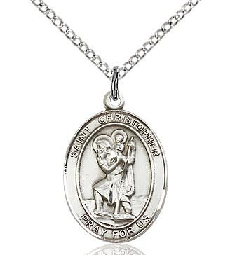 "Bliss Manufacturing Sterling Silver St. Christopher Medal Oval with 20"" Chain"