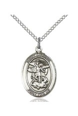 "Bliss Manufacturing Sterling Silver St. Michael Medal Oval on 20"" Chain"