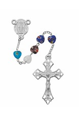 McVan 8mm Multicolor Murano Glass Heart Shaped Bead Rosary