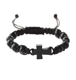 McVan Black Woven Cord Cross Bracelet