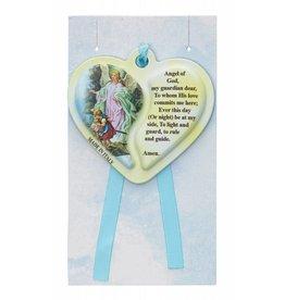 McVan Guardian Angel Heart Shaped Crib Medal Blue