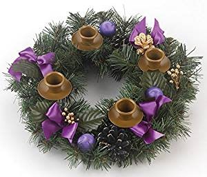 Vermont Christmas Company Purple Ribbon Advent Wreath