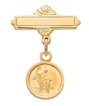 McVan Gold Plated Sterling Silver Guardian Angel Baby Pin