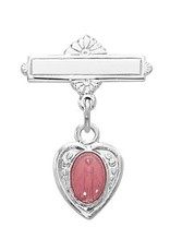 McVan Sterling Silver Pink Enameled Miraculous Medal Heart Shaped Baby Pin