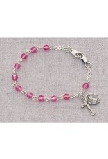 "McVan 5 1/2"" Pink Baby Bracelet With Miraculous Medal and Crucifix"