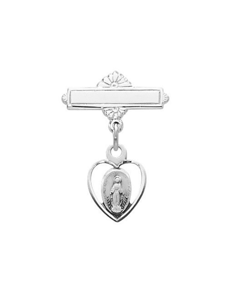 McVan Sterling Silver Miraculous Medal Baby Pin
