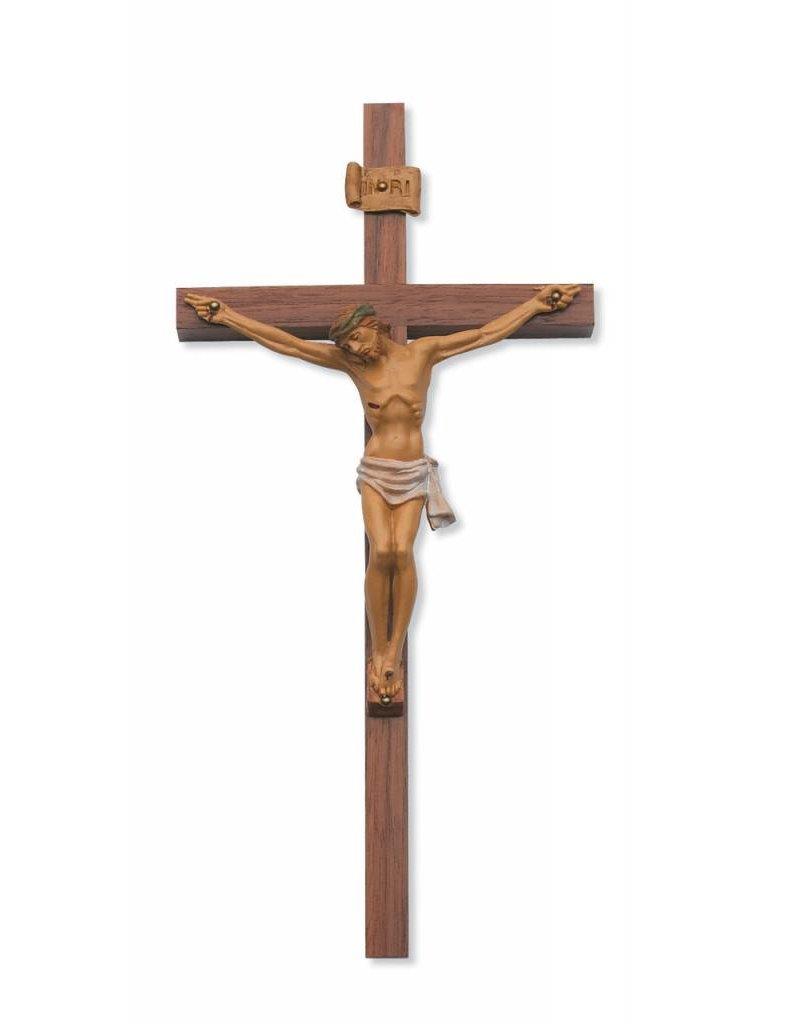 "McVan 12"" Walnut Stained Crucifix with Italian Corpus"