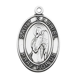 """McVan Sterling Silver Archangel St. Gabriel Medal with 24"""" Chain Necklace"""