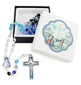 WJ Hirten 5x6mm Glass Bead Our Lady Of Fatima Rosary With Enameled Our Father Beads