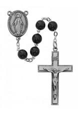 McVan 7mm Sterling Silver Black Wood Rosary