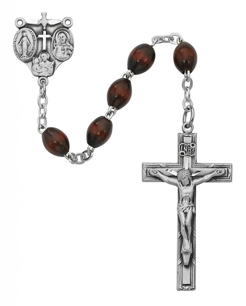 McVan 4x6mm Brown Wood Bead Rosary with Sterling Silver Crucifix and Center