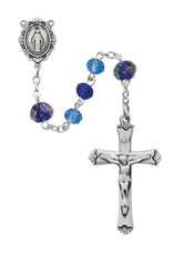 McVan Dark and Light Blue Rosary with Sterling Silver Crucifix and Center