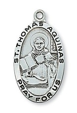"""McVan Sterling Silver St. Thomas Aquinas Medal-Pendant With 24"""" Chain Necklace"""