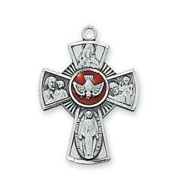 "McVan Sterling Silver Enameled 4 Way Cross with 18"" Chain"