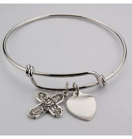 McVan Bangle Bracelet with 4 Way Pewter Cross (Youth Size)