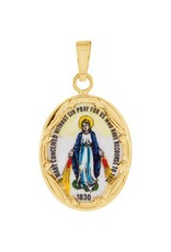 Stuller 14KT (Small) Hand Painted Porcelain Miraculous Medal (13 x 10 mm)