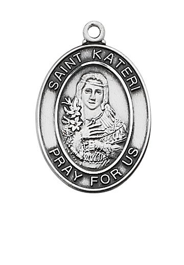 """McVan Sterling Silver St. Kateri Medal With 18"""" Chain"""