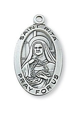 "McVan Sterling Silver St. Rita Medal-Pendant With 18"" Chain Necklace"