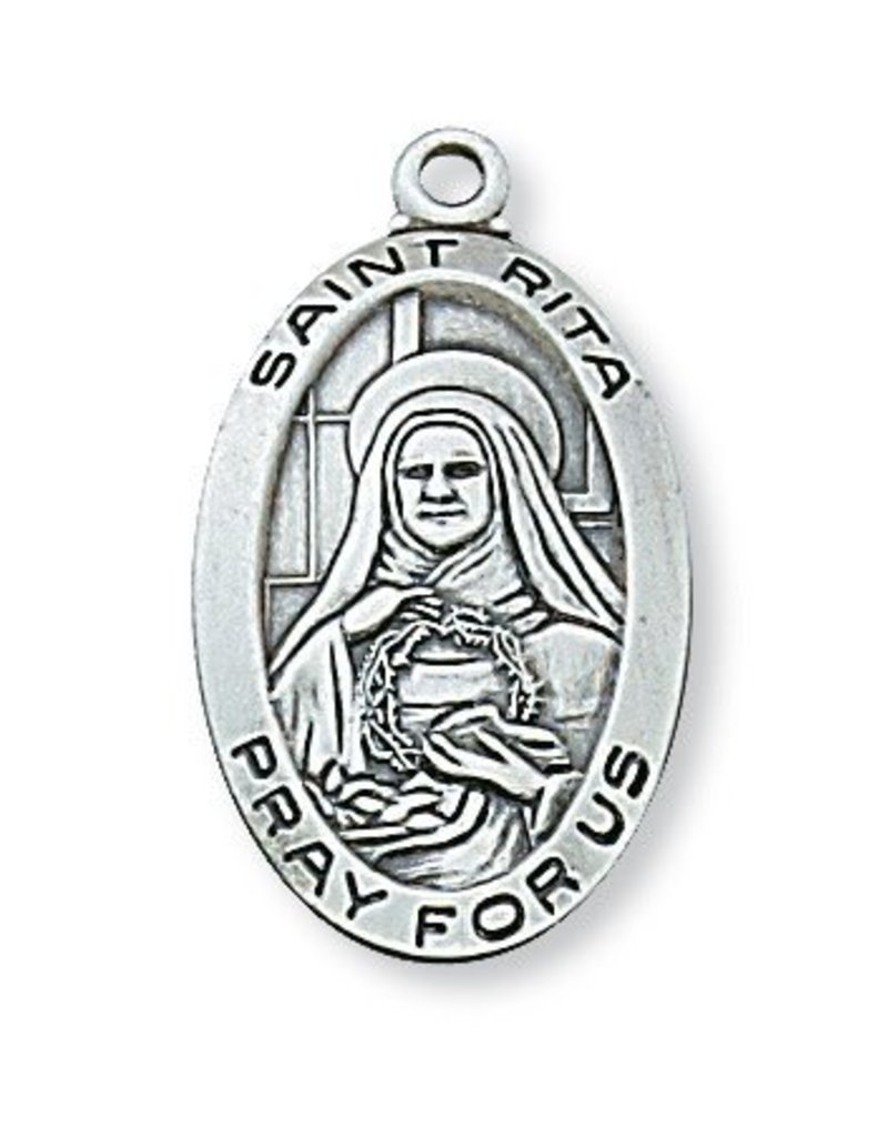 """McVan Sterling Silver St. Rita Medal-Pendant With 18"""" Chain Necklace"""