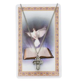 WJ Hirten Pewter 4 Way Holy Spirit Medal with Prayer Card
