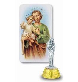 "WJ Hirten 2"" St. Joseph Auto Statue with Holy Card"