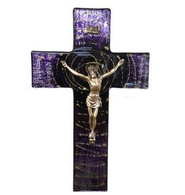 "WJ Hirten 10"" Purple Swirl Glass Crucifix with Golden Corpus"