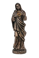 """Goldscheider of Vienna 11"""" Immaculate Heart of Mary in Cold Cast Bronze, Lightly Painted"""