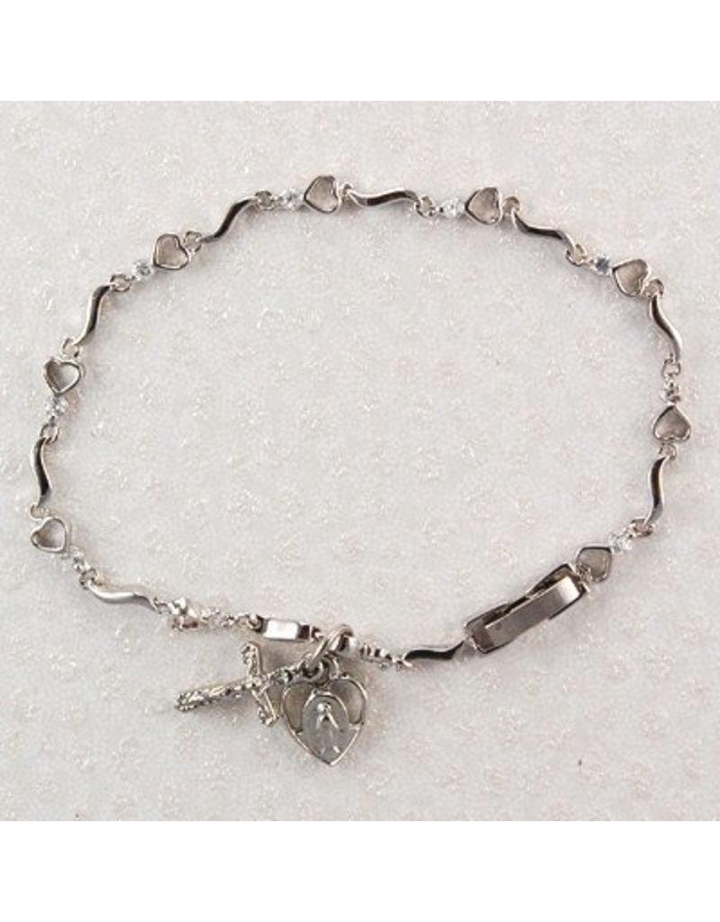 """McVan 7 1/2"""" Cubic Zirconia Bracelet with Hearts"""